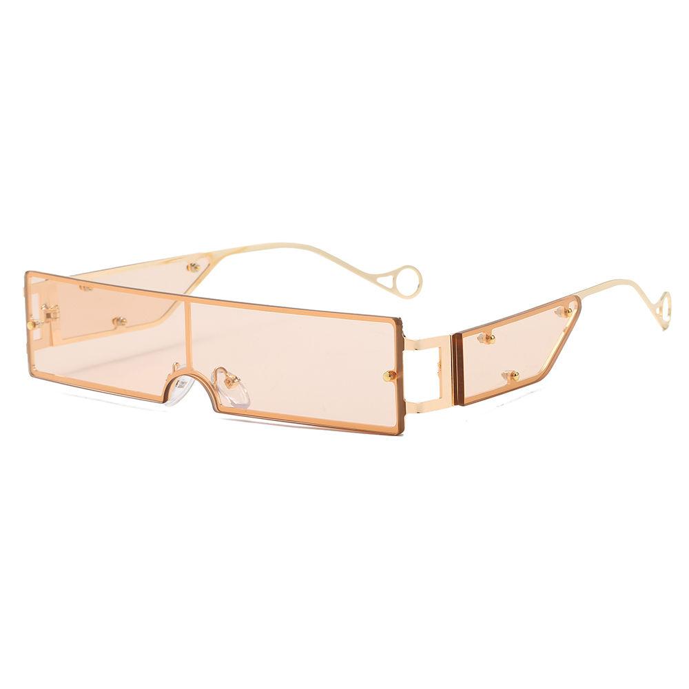 EUGENIA One Piece Square Small Lens Metal Steampunk Women Sunglasses