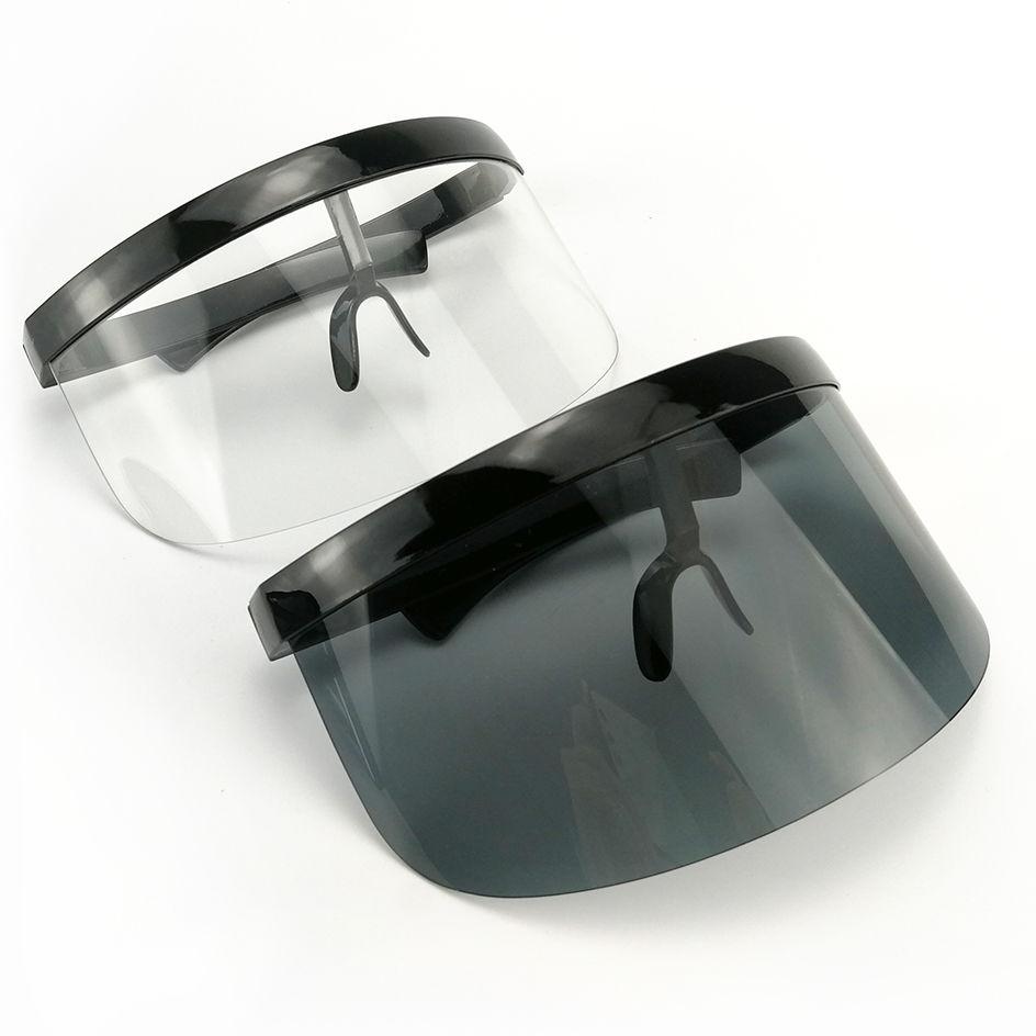 EUGENIA Futuristic Women Big Frame Flat Top Eyeshield Visor Oversized Sunglasses