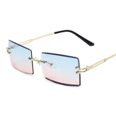 EUGENIA Square Small Lens Metal Retro Vintage Frameless Women Sunglasses