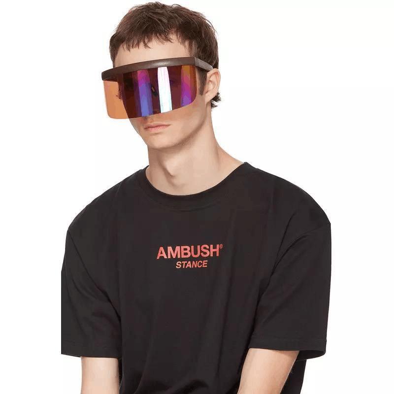 EUGENIA Futuristic Women Big Frame Flat Top Eye Visor Shield Mirrored Mono Lens Square Visor Oversize Sunglasses
