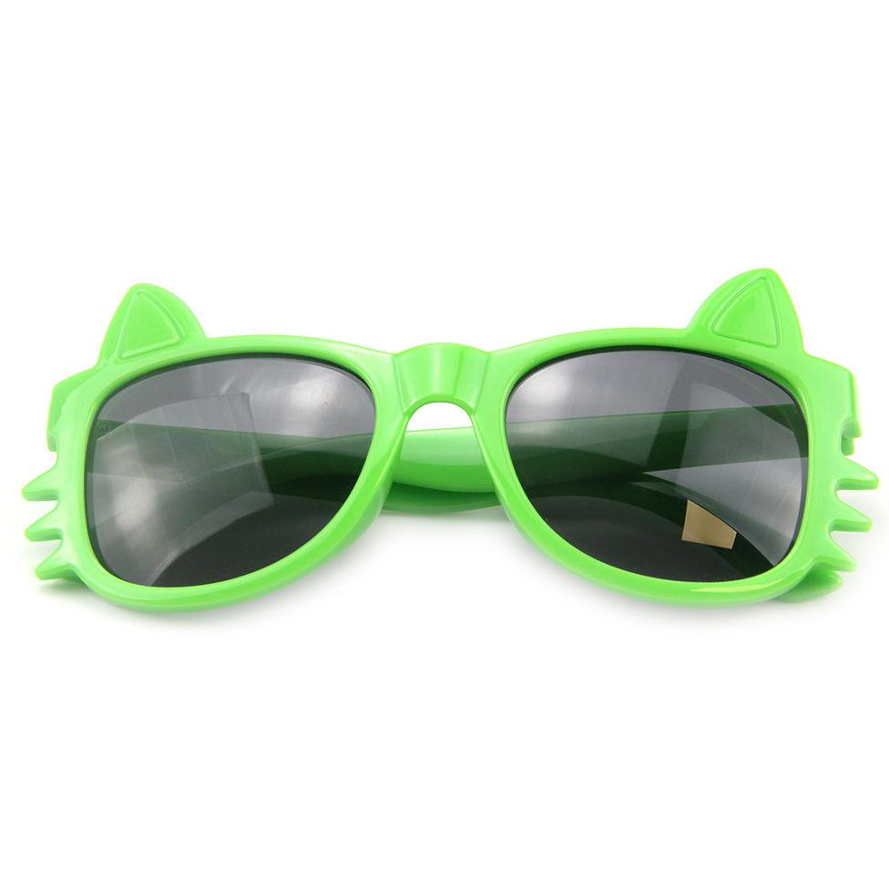 EUGENIA Cheap Factory Wholesale Custom Logo Green Small Cat Shape Cute Kids Boy Sunglasses