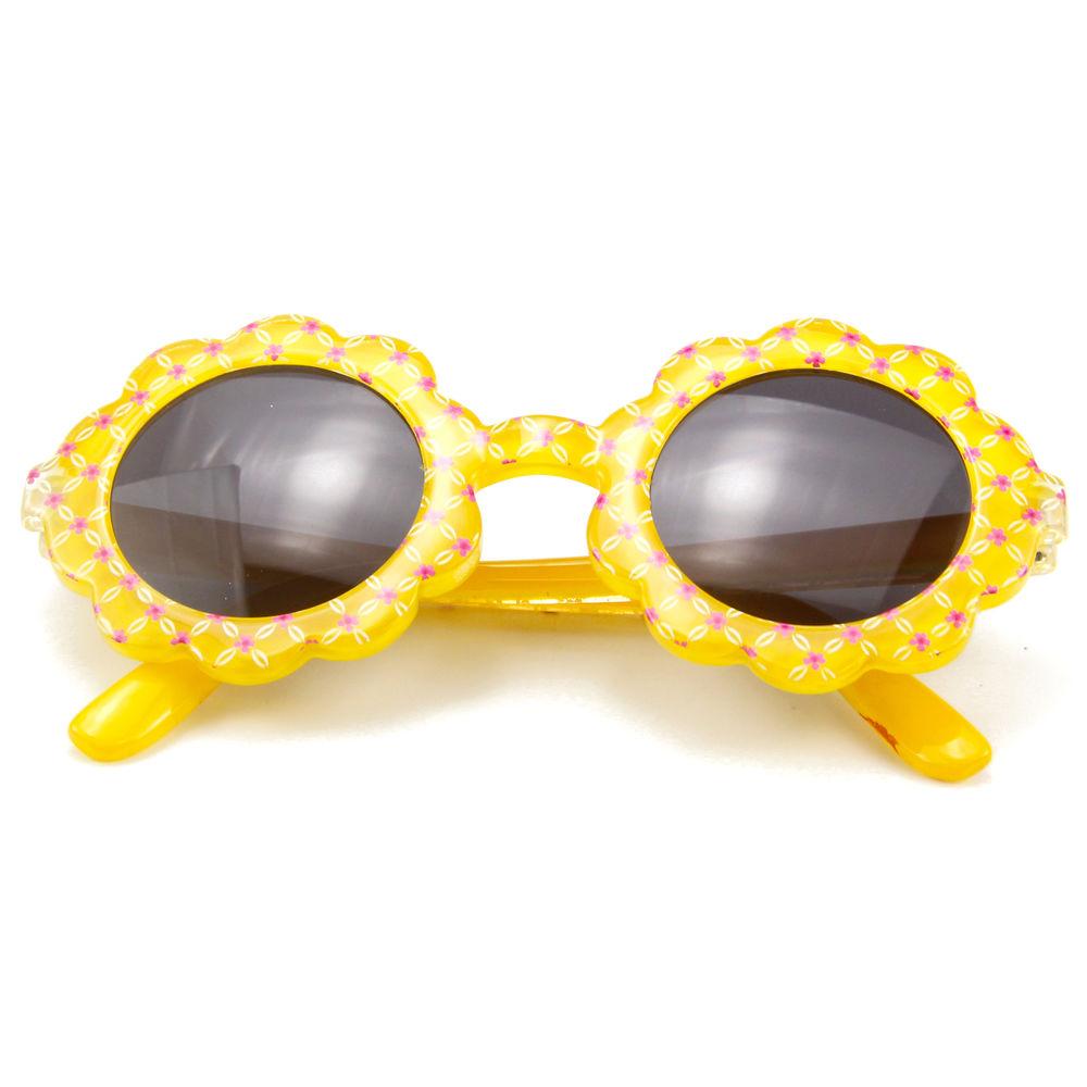 EUGENIA Yellow Flower Small Shape Kids Sun Flower Fashion Girl Sunglasses