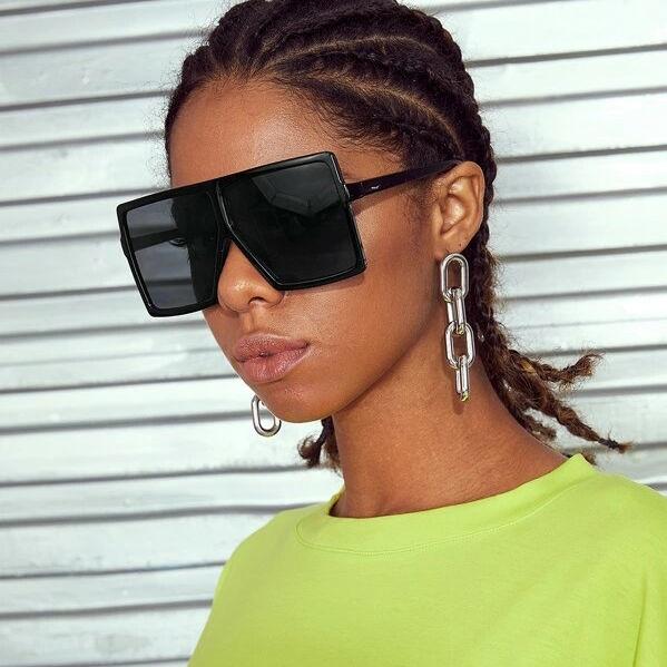 EUGENIA Rivet Decor Flat Lens Top Shield Square Design Shade Mirror UV400 Oversized Women Sunglasses