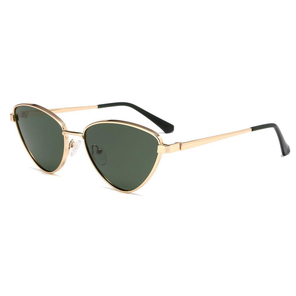 EUGENIA Triangle Vintage Metal Retro Small Punk Cat Eye Polarized Sunglasses
