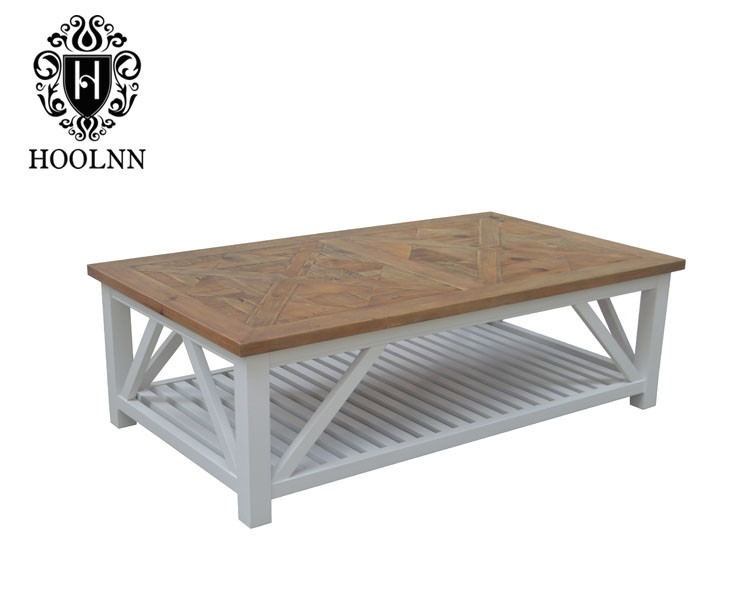 French-style Recycled Wood Sand Base Square Hard Wooden Coffee Table