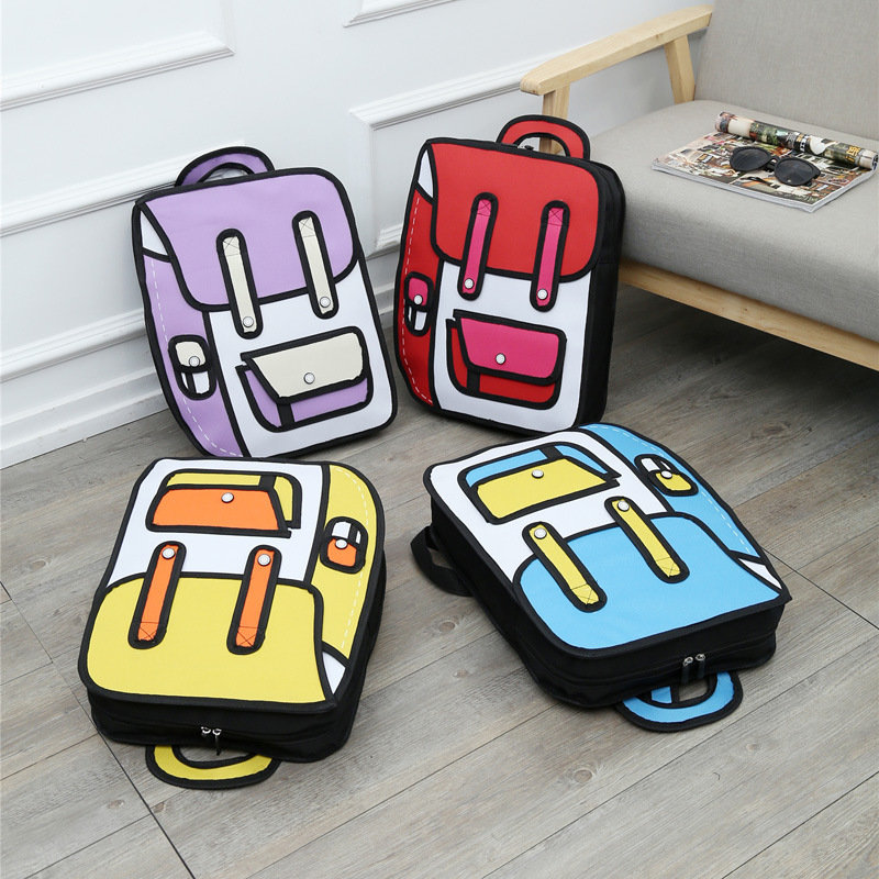 Osgoodway Cartoon Backpacks School Bag Teenagers2D. 3D printing Bag Personality Student Backpack