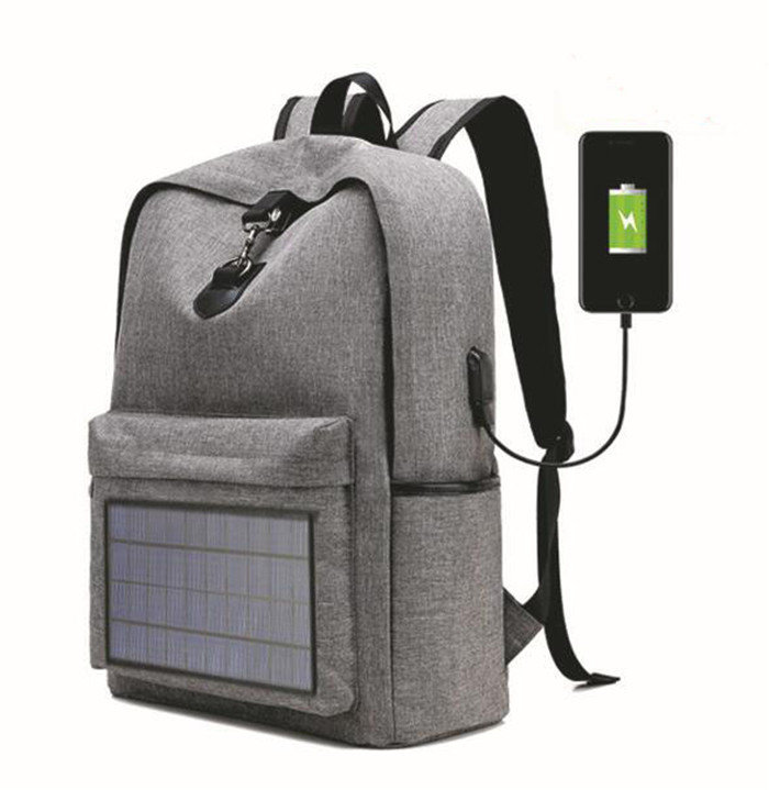 Osgoodway OEM Waterproof Men Travel Solar Panel Business Smart Backpack with USB Charging