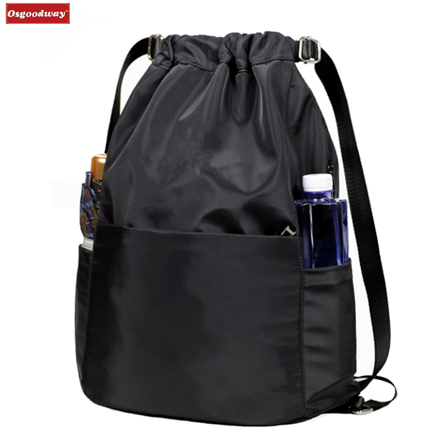 Osgoodway New Products Custom Logo Waterproof Polyester Drawstring Backpack with water bottle holder
