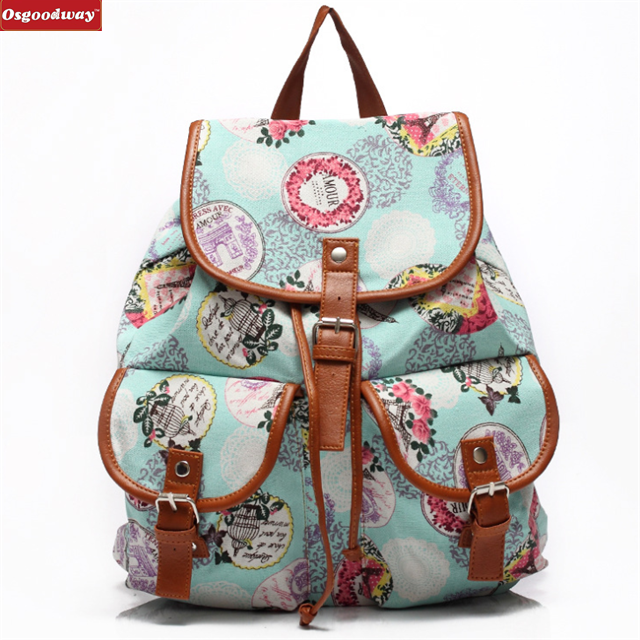 Osgoodway New Products Vintage Lightweight Cute Pattern Canvas Hiking Backpack Waterproof for School Girls