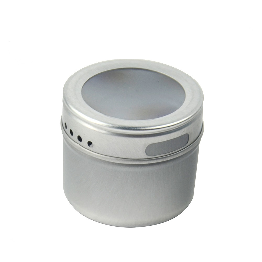 Wholesale magnetic tin can spice jar setkitchen condiment shaker container with PVC window lid