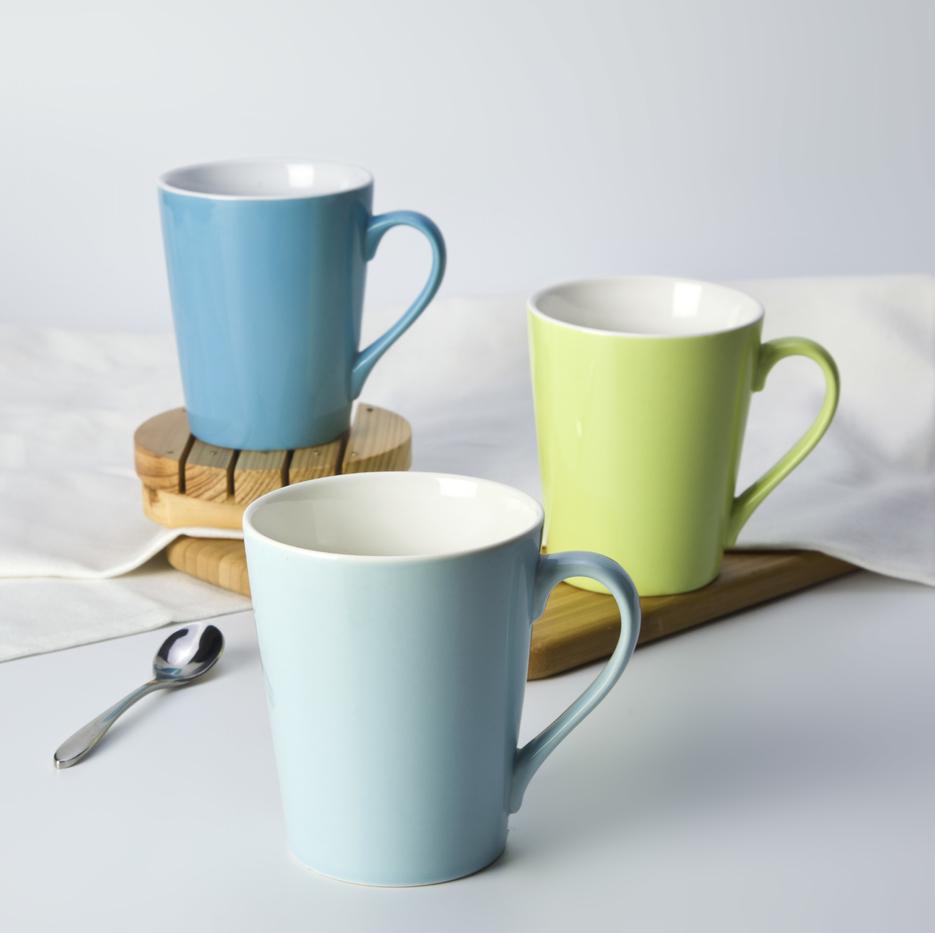 Cafe lounge use color plain ceramic crockery tableware coffee mugs