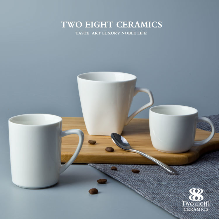 Wholesale crockery coffee mugs ivory white cups western style drinkware