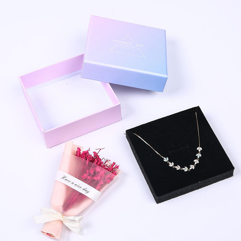 Anniversary Ins pink and blue gradient jewelry box Creative paper boxaccortment angelusgift box