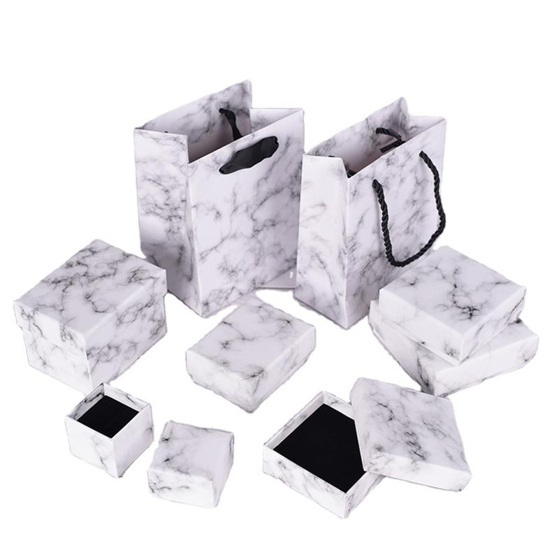 Small Custom Size Square Cardboard Jewelry Boxes Marble White Necklace Pendant Box for Jewelry Set