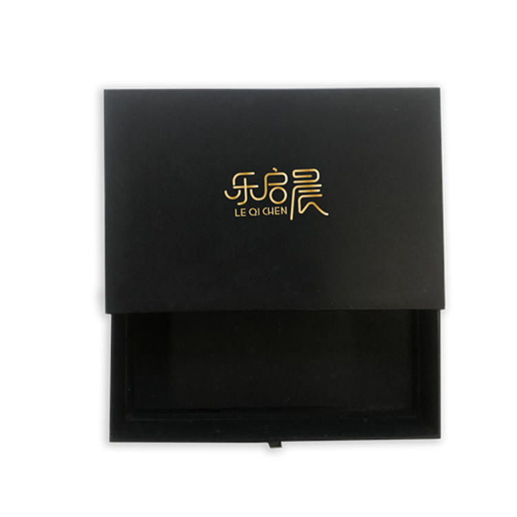 Personalized custom printing gold foil lack paper cardboard rectangle drawer jewelry box with string