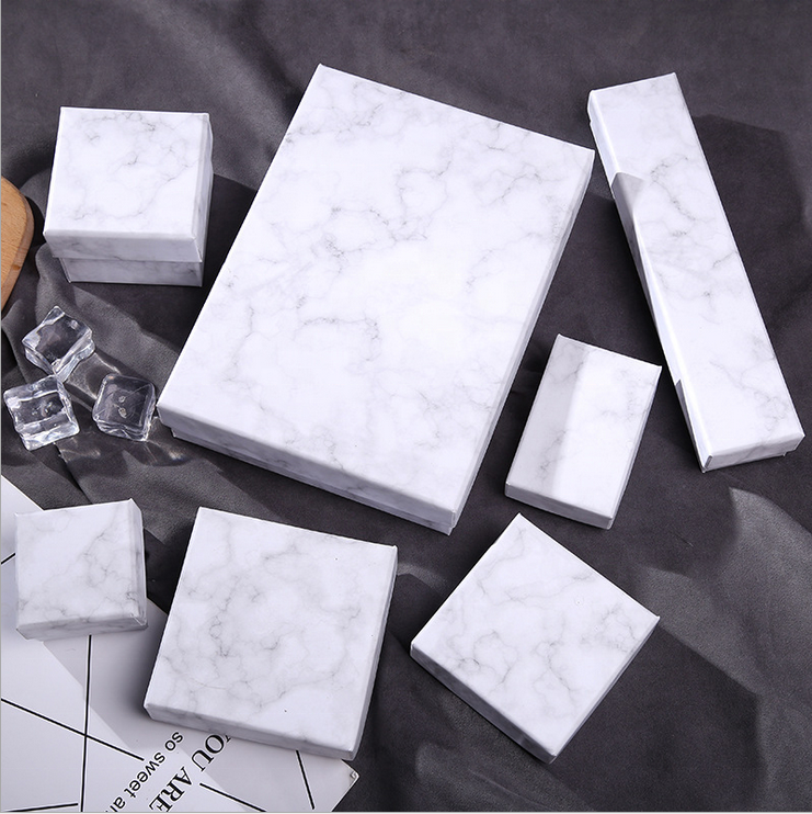 High Quality PU Leather Marble Gift Box For Jewelry Ring Packaging
