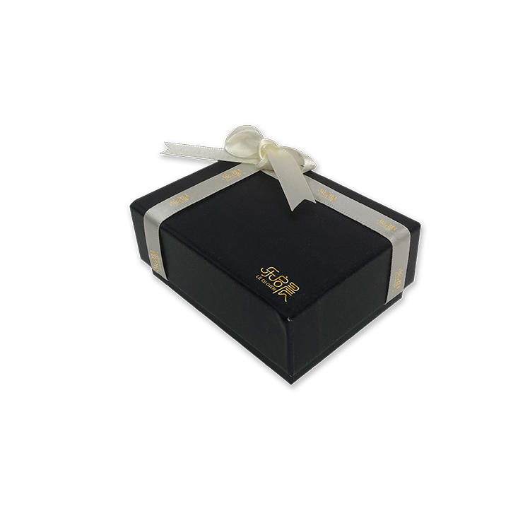 Gold foil dark blue small rectangle drawer paper box jewelry gift box with ribbon