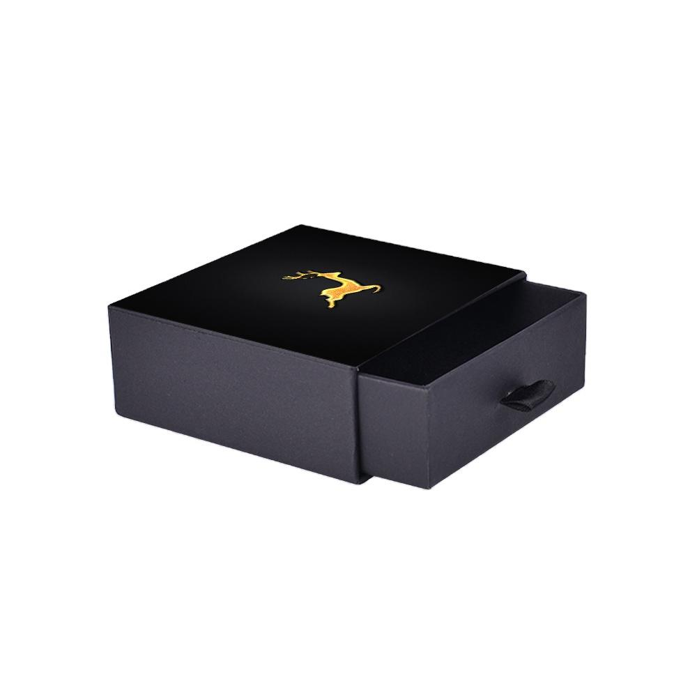 High Quality Anti Tarnish Logo Hot stamping Black Drawer Jewelry Box With Lids For men