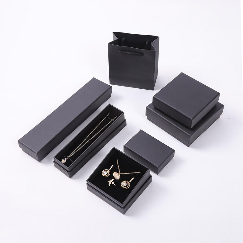 Customized necklace ring eyelash packaging box black paper jewelry gift box with heaven and earth cover