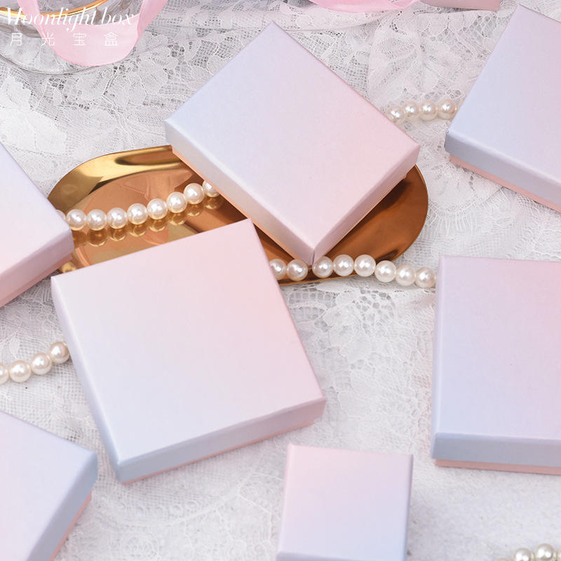 Jewelry box Girl ring pink and blue necklace, Ins box, paper box assorted sizes set of 5