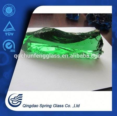 Clear Green Glass Rocks for Fireplace & Landscape & Square & Garden & River Decoration