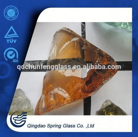 Irregular Shape Amber Glass Stones