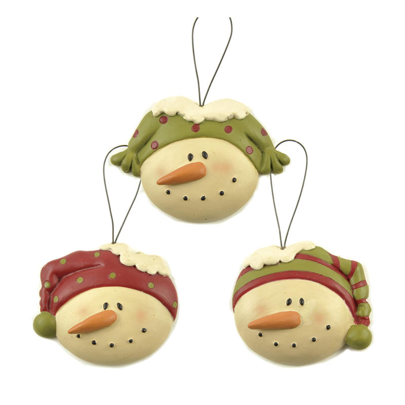 Small Order Quantity Personalized Resin Snowman Head Christmas Tree Hanging Ornaments