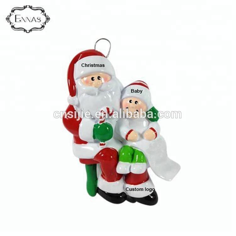 OEM Customized Polyresin Xmas Angel Pendant Decorated with Christmas Santa
