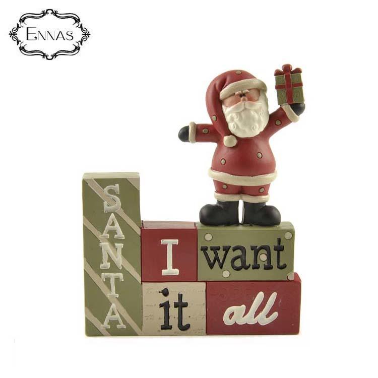 Custom wholesale creative christmas ornaments santa figurine decoration 'i want it all' blocks