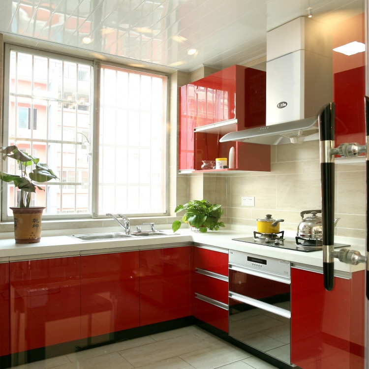 China Prefab Mueble De Cocina Modular Ready Made PVC Kitchen Cabinets