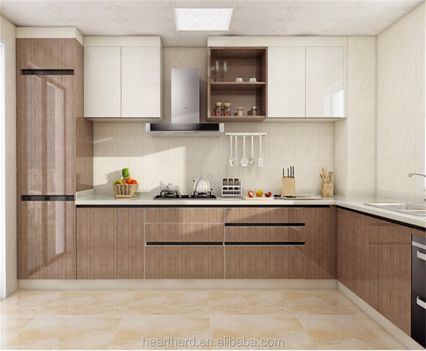 Practical Home Contemp Pvc Simple Real Wood Kitchen Cabinet