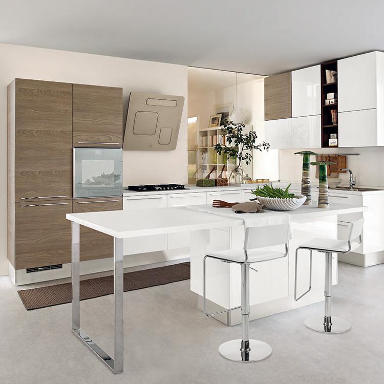 2020 China manufacturer modern style white kitchen cabinet designs wood kitchen cabinet apartment projectscustom made