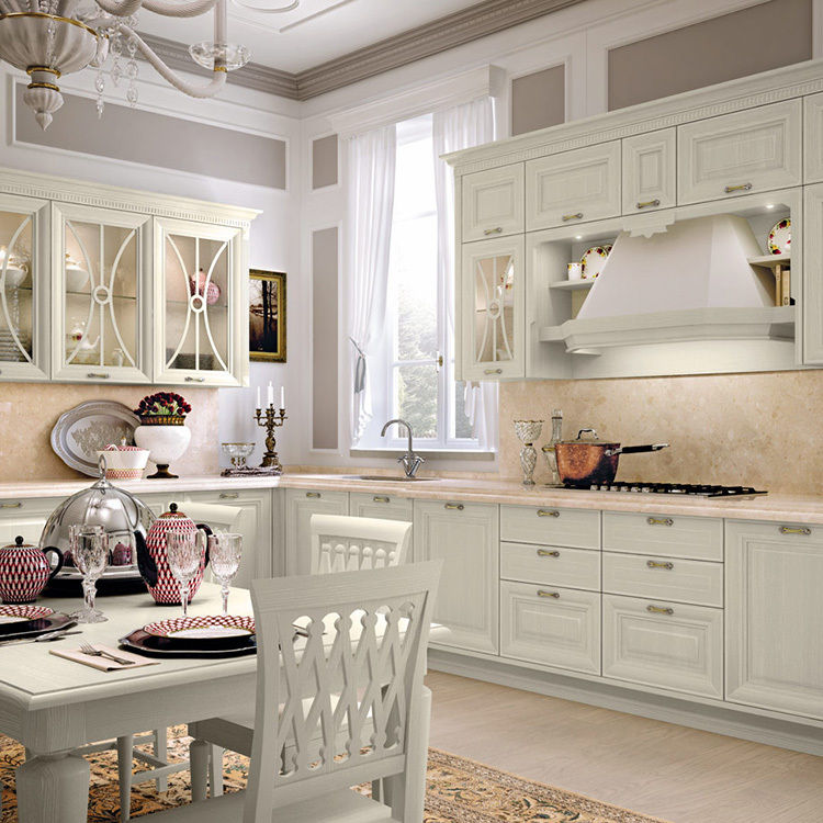 2020 new European stylewood white open kitchen cabinet designs apartment projects made in China