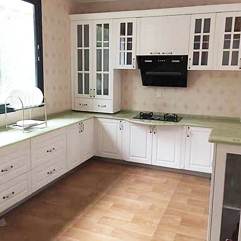simple Design Grey Solid Wood Kitchen Cabinets with Island