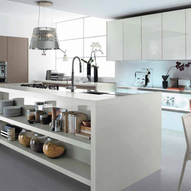 China manufacturer modern style wood white kitchen cabinet designs apartment projectscustom made