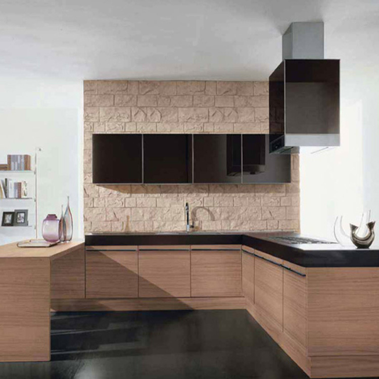 2020 new modern stylewood open kitchen cabinet designs apartment projects made in China