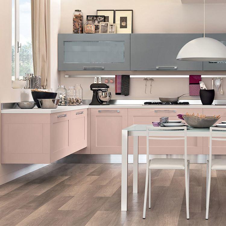 Soft Closing Adjustable Hinge Type Apartment Modern Pink Kitchen Cabinet Sets