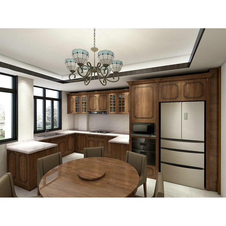 kitchen cabinet manufacturers supply the overall kitchen cabinet European solid wood board type kitchen cabinet