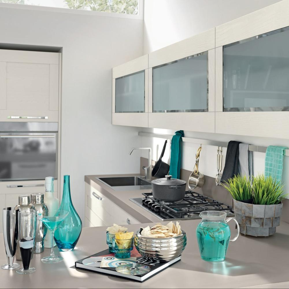 Modern Design Gloss Wood Veneer Kitchen Cabinet