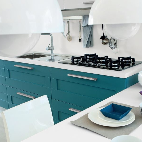 Customized Size Blue Detached Kitchen Cabinet solid wood Kitchen furniture Factory custom-made