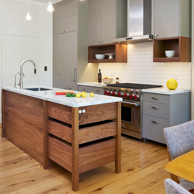 White and Wood Tone PVC Simple European Style Kitchen Cabinets