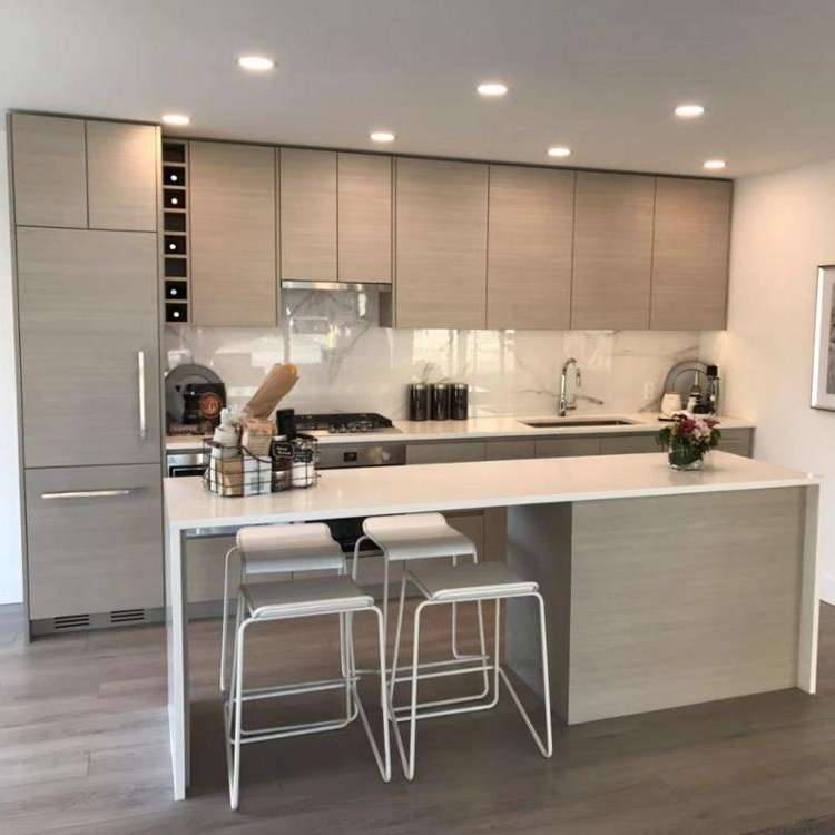 Luxury modern shaker plywood solid wood contemp kitchen cabinet door cupboard