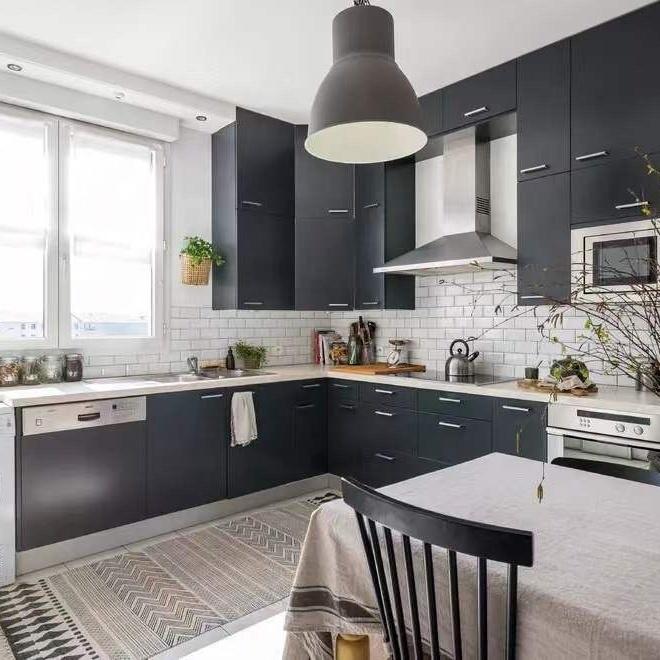 Modular Black Kitchen Cabinet With Washing Machine Cabinet