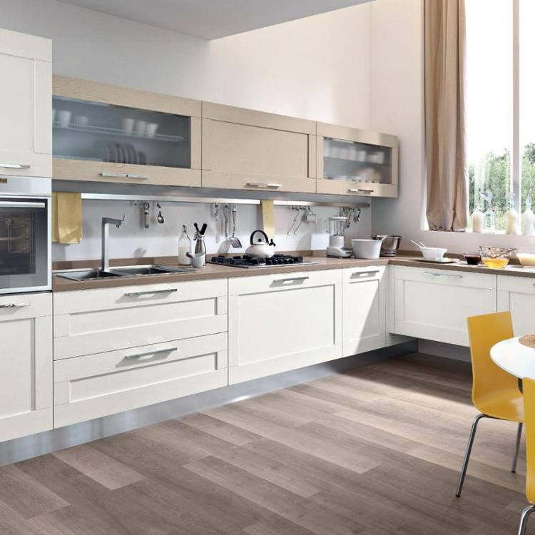 White Color Apartment Melamine Drawer Durable Slide Kitchen Cabinet
