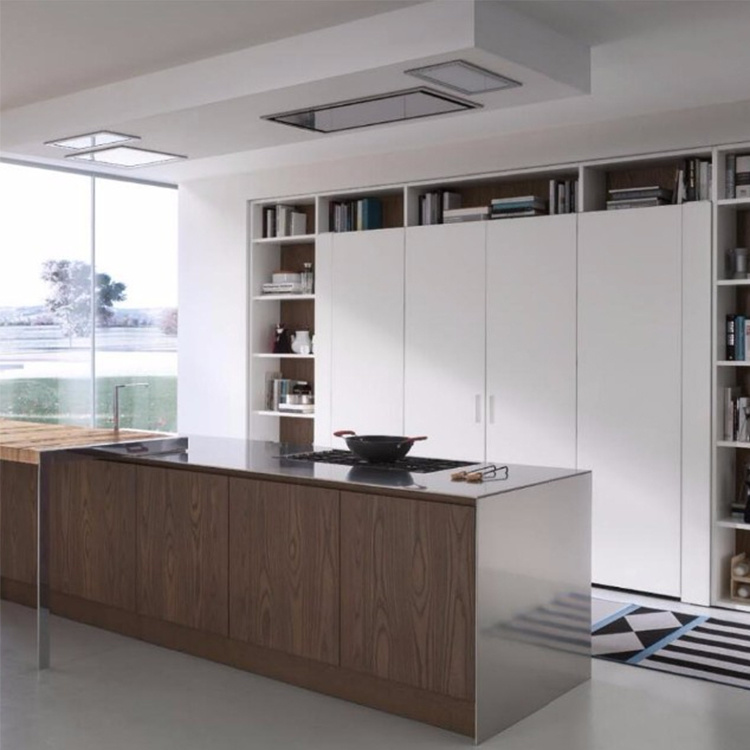 Black modern design furniture high end kitchen cabinets with clean handle-less look