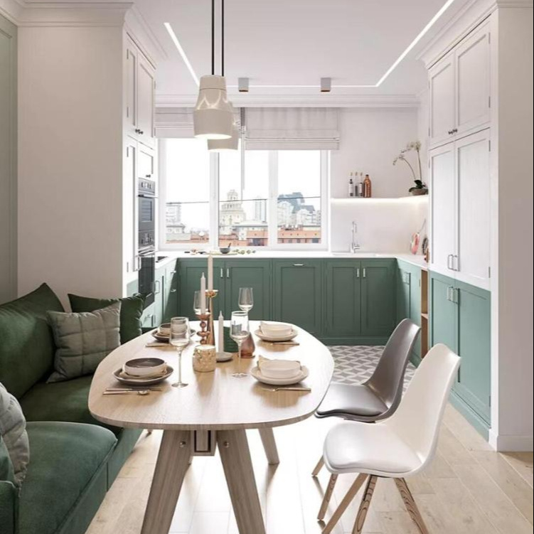 Hotselling green colour modular particleboard kitchen cabinet green base cabinet white wall cabinet