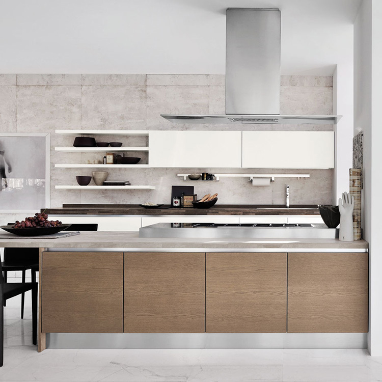 China manufacturer luxury modern style wood openkitchen cabinet designs wood kitchen cabinet engineering projects custom made