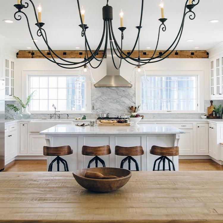 2021 hot sale Modern White Custom Furniture island open Kitchen Cabinet made in China