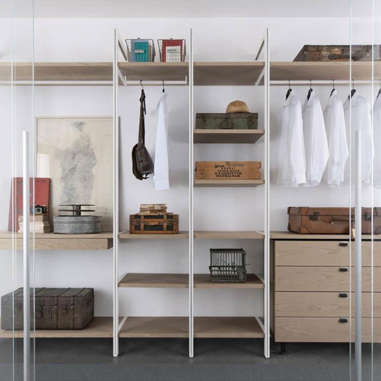 Shape teak wood classic simple bedroom wardrobe furniture wardrobe cliset with slide door