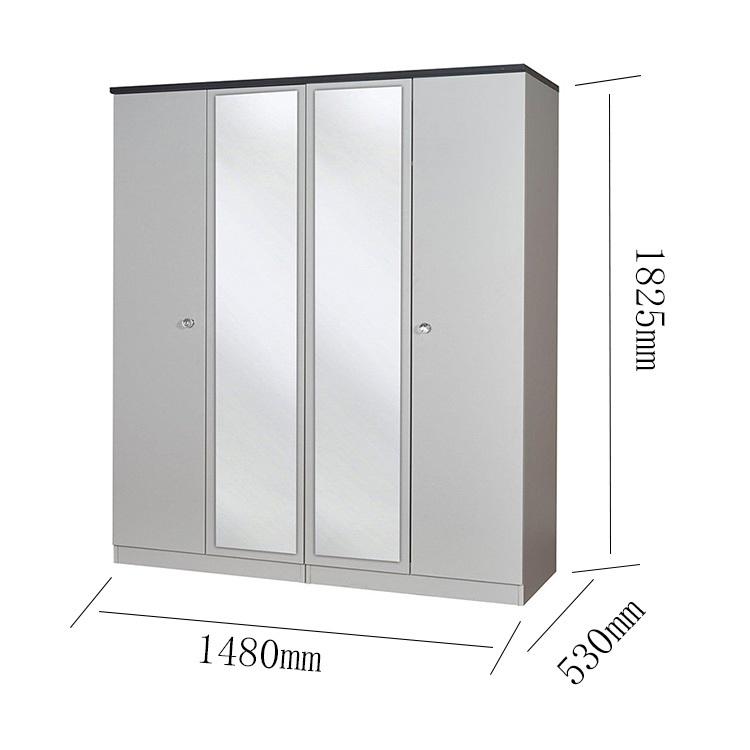 Easy Design 4 Door Wooden Detachable Wardrobe With Mirror